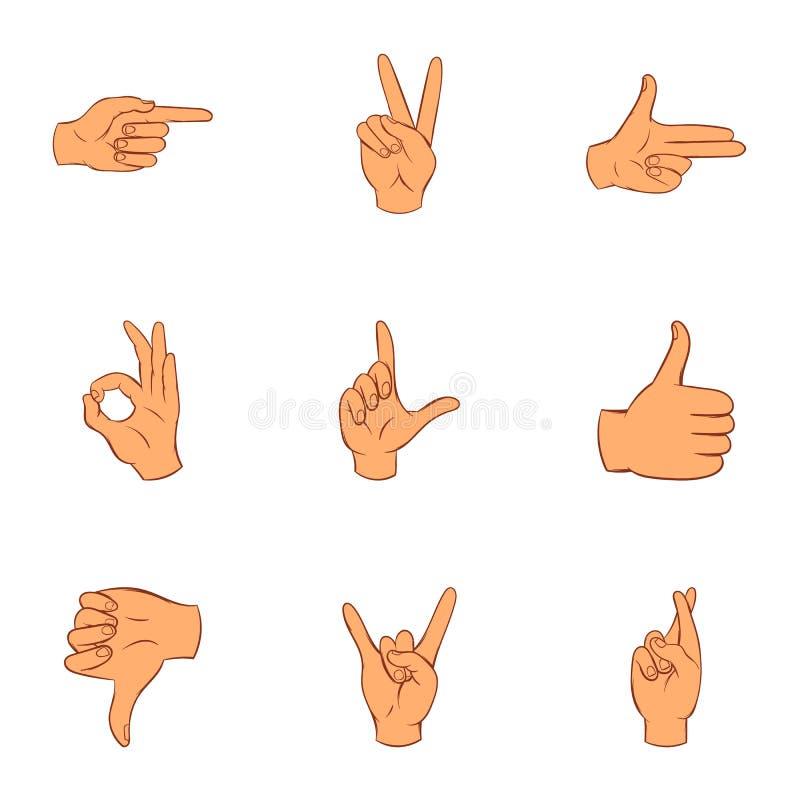 Iconos fijados, estilo de los gestos de la comunicación de la historieta libre illustration
