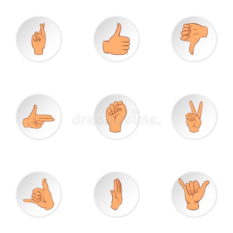 Iconos fijados, estilo de los gestos de la comunicación de la historieta ilustración del vector