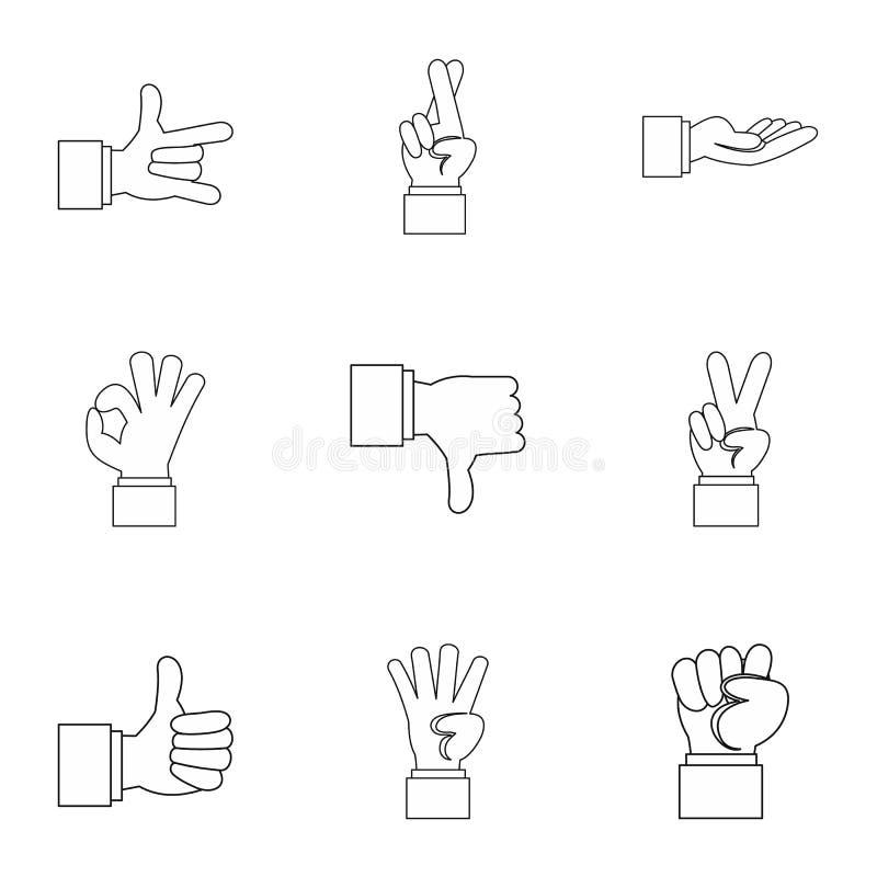 Iconos fijados, estilo de los gestos de la comunicación del esquema stock de ilustración