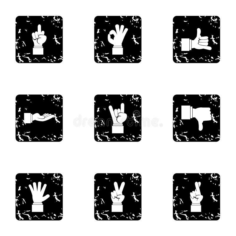 Iconos fijados, estilo de los gestos de la comunicación del grunge ilustración del vector