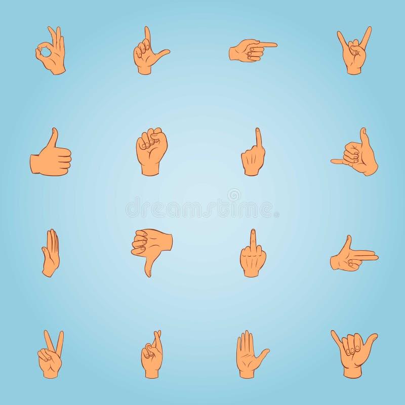 Iconos fijados, estilo de los gestos de la historieta stock de ilustración
