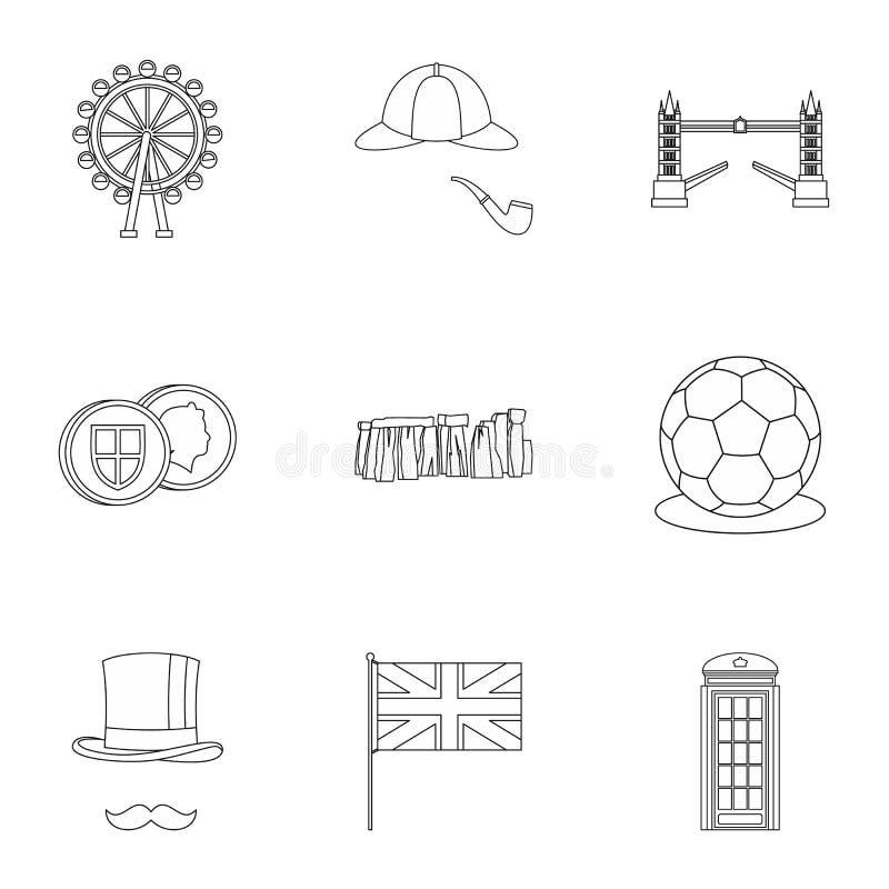 Iconos fijados, estilo de Reino Unido del esquema stock de ilustración