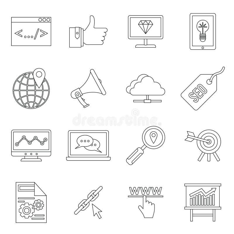 Iconos fijados, estilo de SEO del esquema stock de ilustración