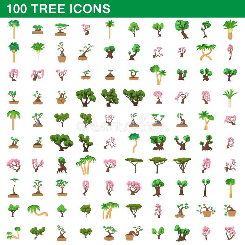 100 iconos fijados, estilo del árbol de la historieta ilustración del vector