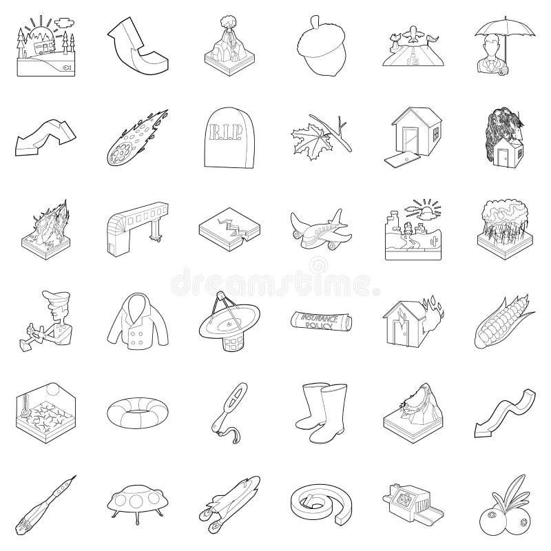 Iconos fijados, estilo del aire del esquema stock de ilustración