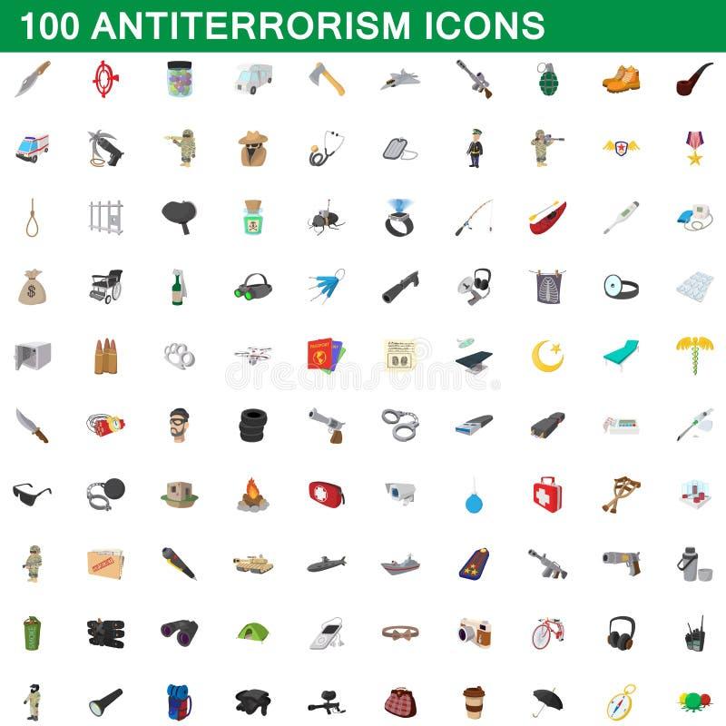 100 iconos fijados, estilo del antiterrorismo de la historieta ilustración del vector