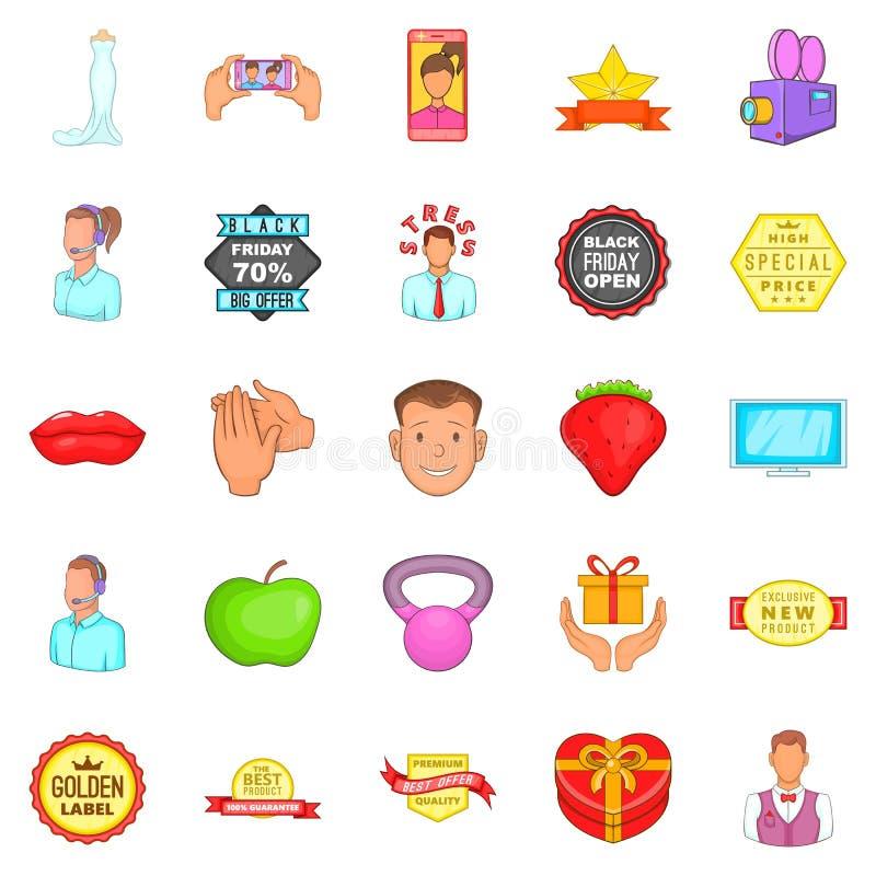 Iconos fijados, estilo del anuncio de la historieta ilustración del vector