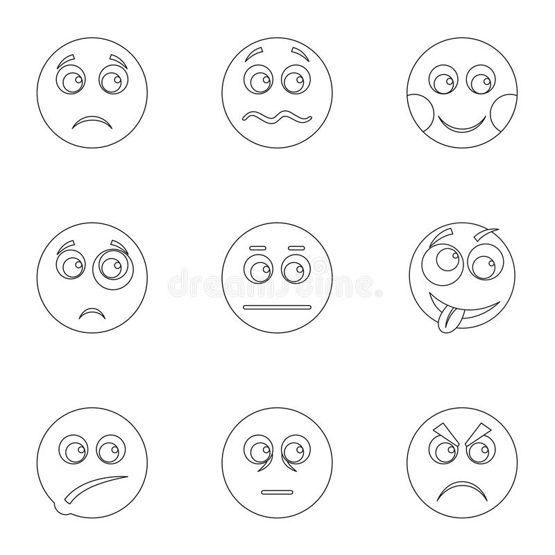 Iconos fijados, estilo del aspecto del esquema stock de ilustración