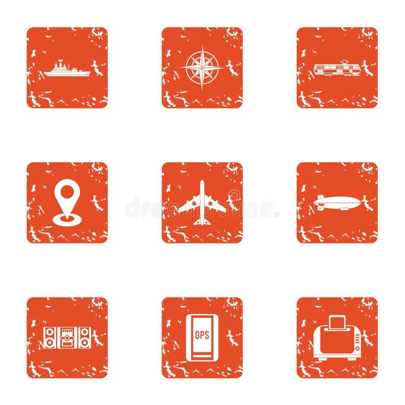 Iconos fijados, estilo del aspecto del grunge stock de ilustración