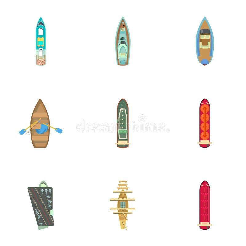 Iconos fijados, estilo del bote de la historieta stock de ilustración