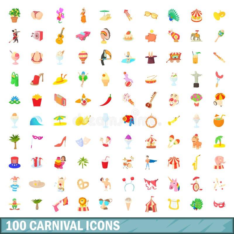 100 iconos fijados, estilo del carnaval de la historieta stock de ilustración