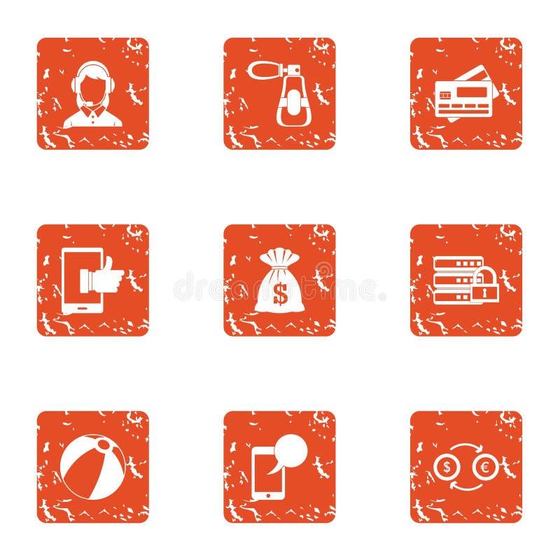 Iconos fijados, estilo del consultor de la tienda del grunge ilustración del vector
