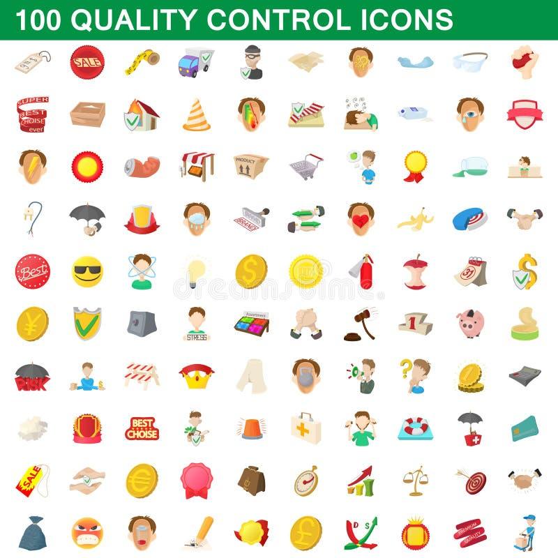 100 iconos fijados, estilo del control de calidad de la historieta stock de ilustración