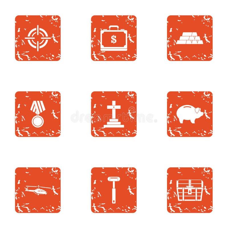 Iconos fijados, estilo del culto del grunge ilustración del vector