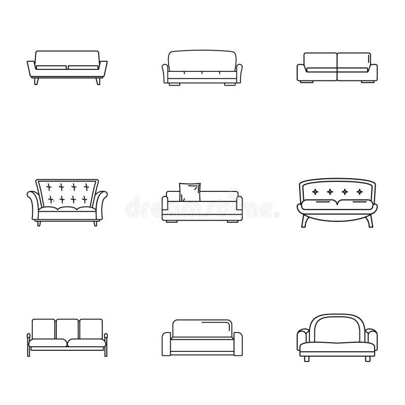 Iconos fijados, estilo del diván del esquema stock de ilustración