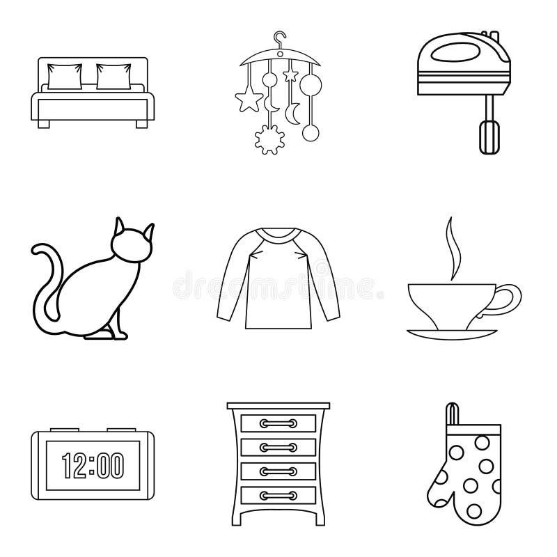 Iconos fijados, estilo del domicilio del esquema ilustración del vector