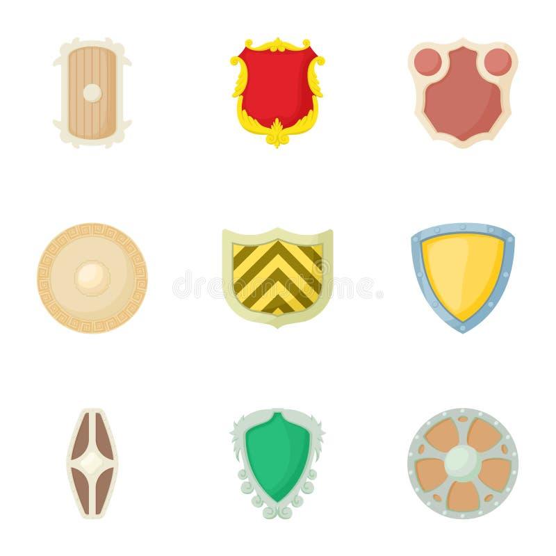 Iconos fijados, estilo del escudo del ejército de la historieta stock de ilustración