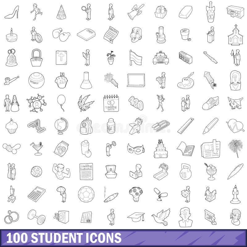 100 iconos fijados, estilo del estudiante del esquema libre illustration