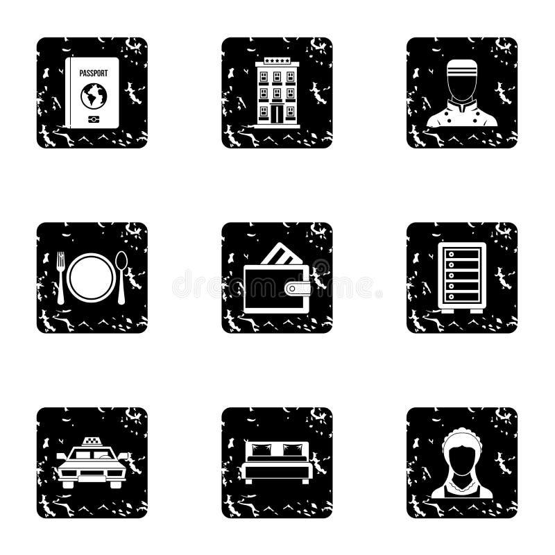 Iconos fijados, estilo del hotel del grunge libre illustration
