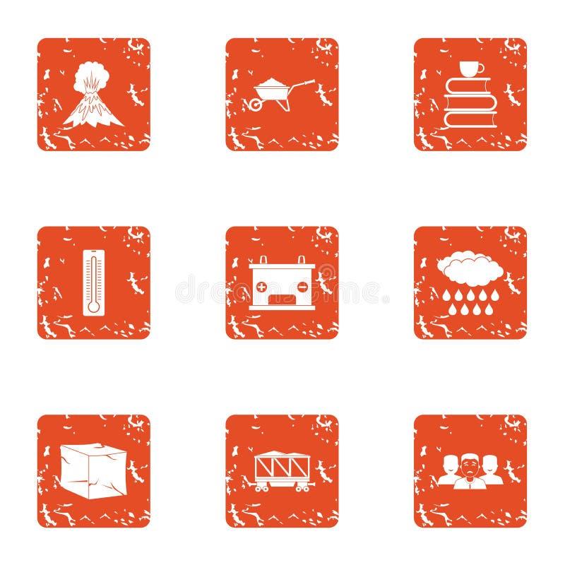 Iconos fijados, estilo del lugar del aire del grunge ilustración del vector