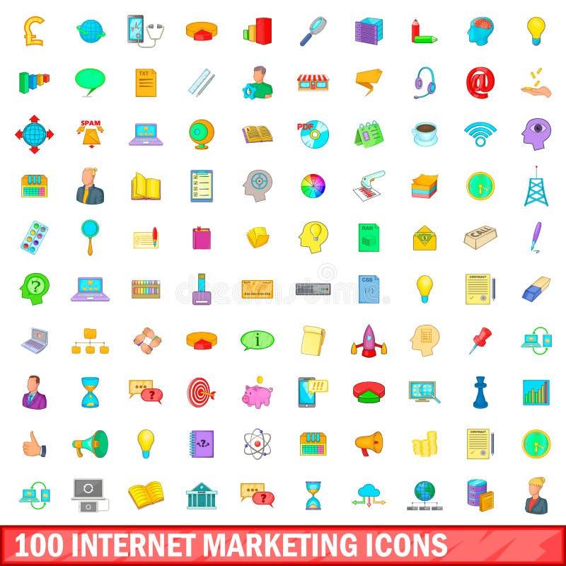 100 iconos fijados, estilo del márketing de Internet de la historieta libre illustration