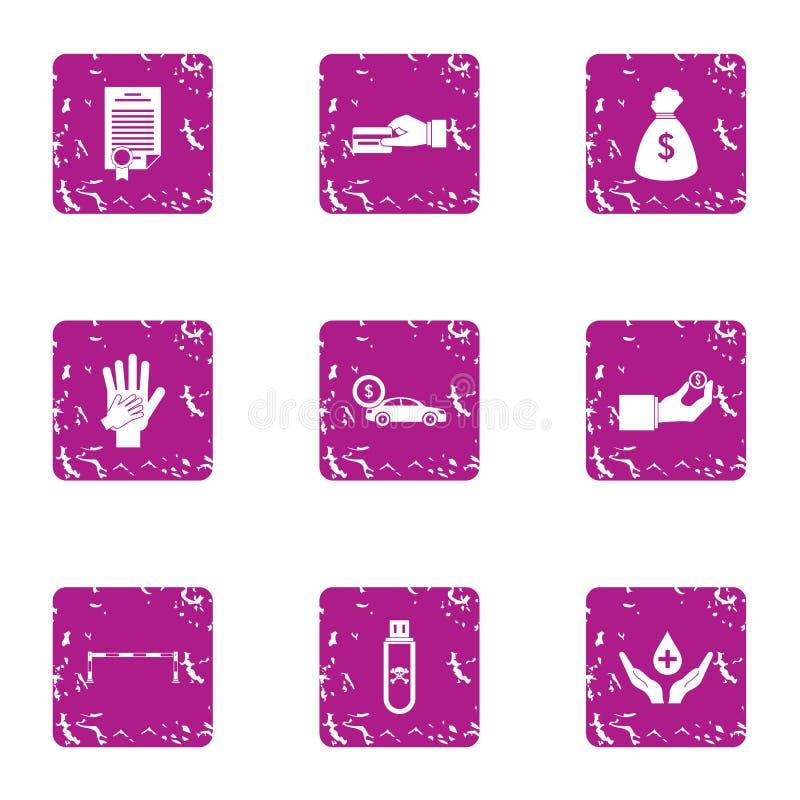 Iconos fijados, estilo del memorándum del grunge stock de ilustración