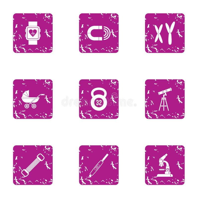 Iconos fijados, estilo del momento de los niños del grunge libre illustration