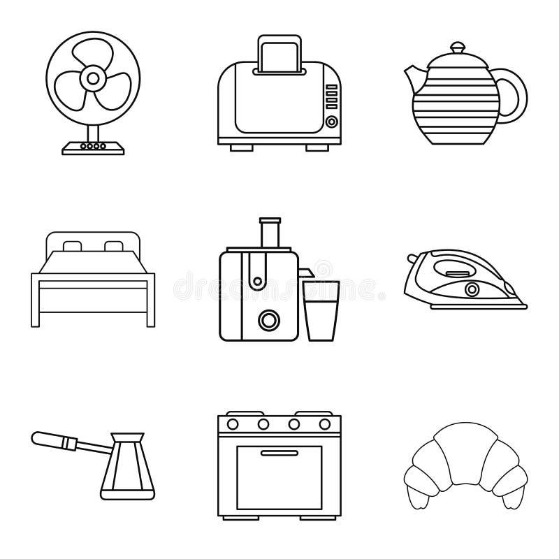 Iconos fijados, estilo del motel del esquema ilustración del vector