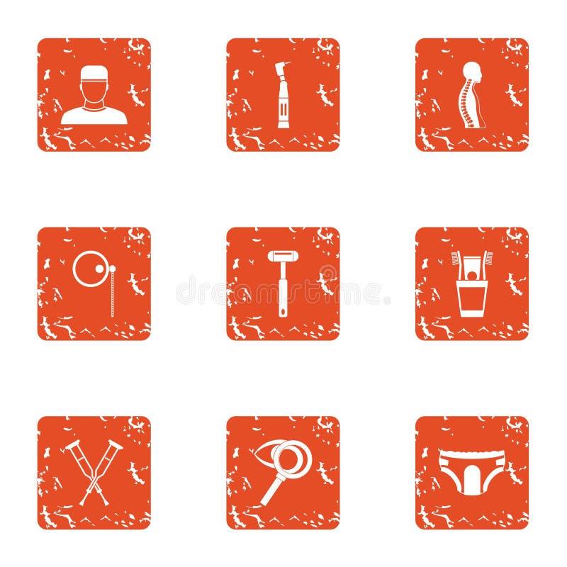 Iconos fijados, estilo del organismo del arreglo del grunge ilustración del vector