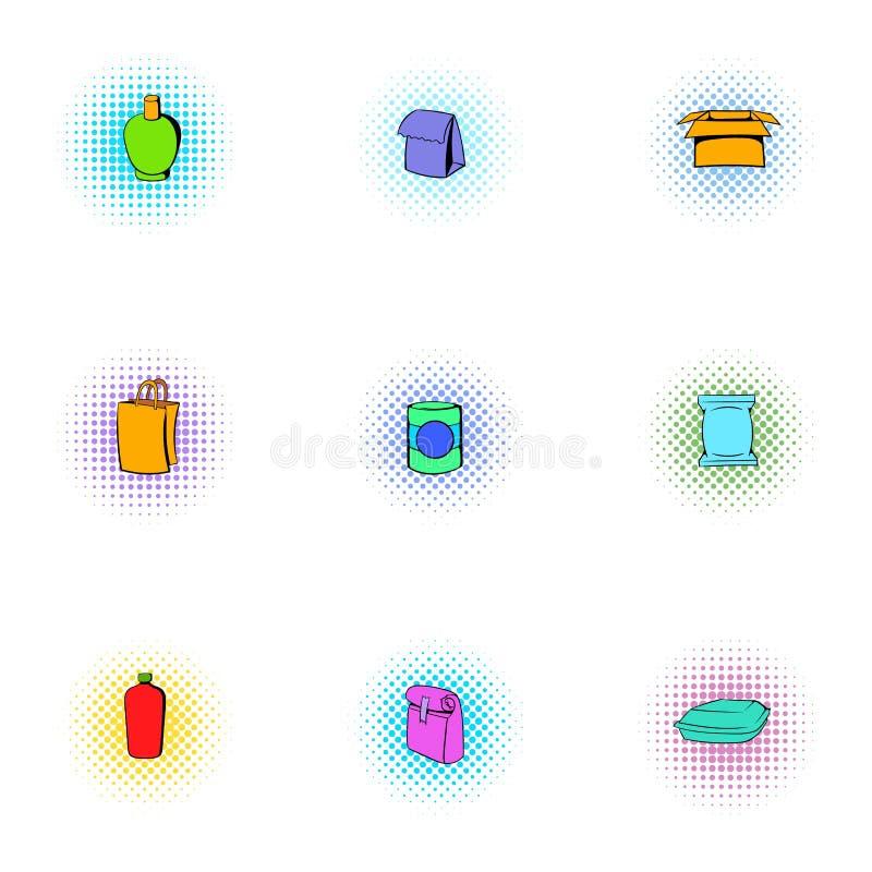 Iconos fijados, estilo del paquete del estallido-arte stock de ilustración