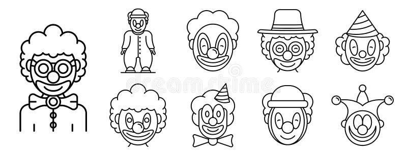 Iconos fijados, estilo del payaso del esquema ilustración del vector
