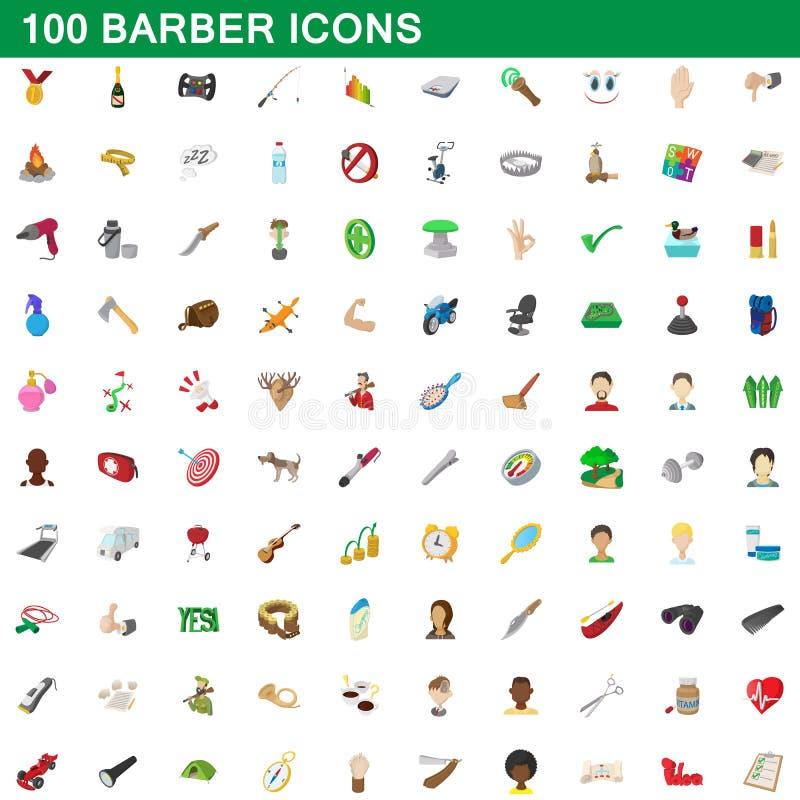 100 iconos fijados, estilo del peluquero de la historieta stock de ilustración