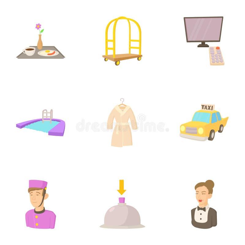 Iconos fijados, estilo del personal del hotel de la historieta stock de ilustración