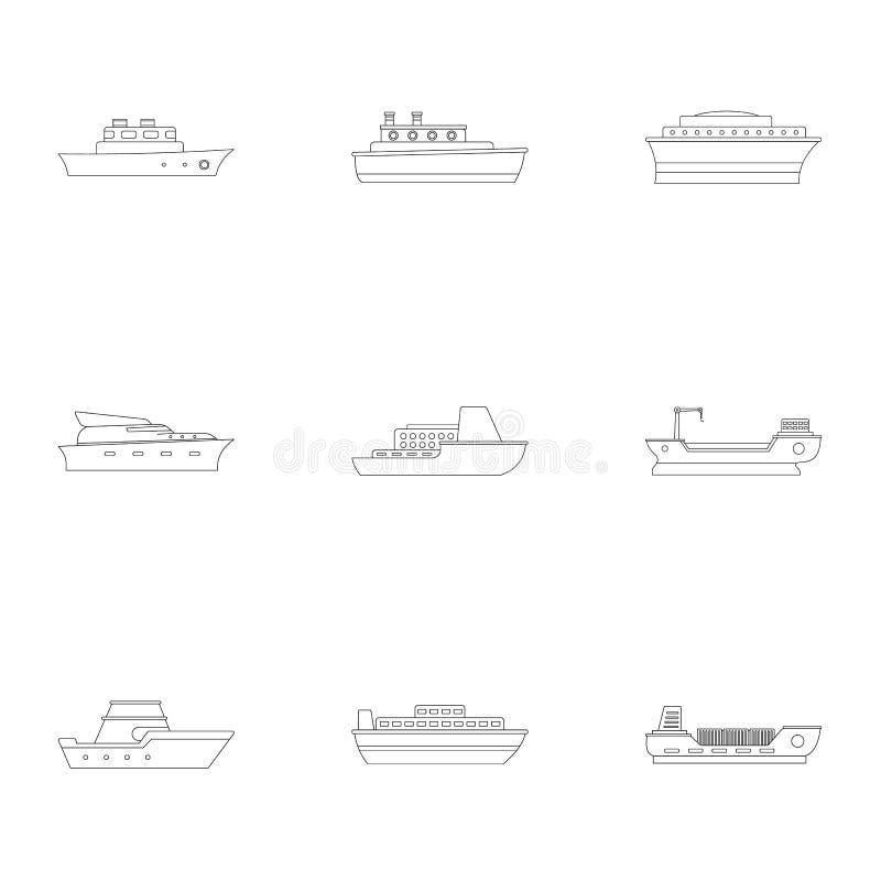 Iconos fijados, estilo del Powerboat del esquema ilustración del vector