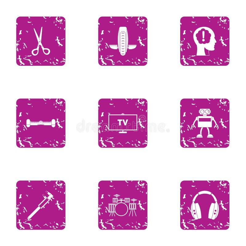 Iconos fijados, estilo del programa informático del grunge ilustración del vector