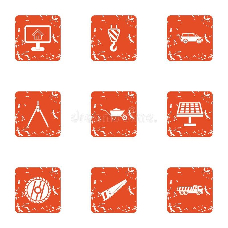 Iconos fijados, estilo del registro del grunge ilustración del vector