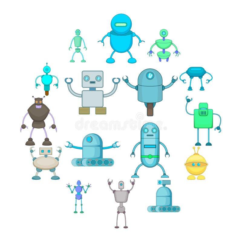 Iconos fijados, estilo del robot de la historieta stock de ilustración