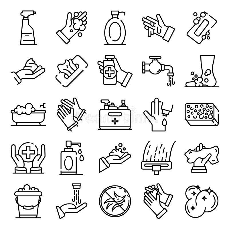 Iconos fijados, estilo del saneamiento del esquema stock de ilustración