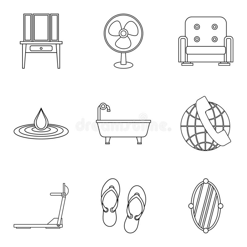 Iconos fijados, estilo del servicio del motel del esquema stock de ilustración