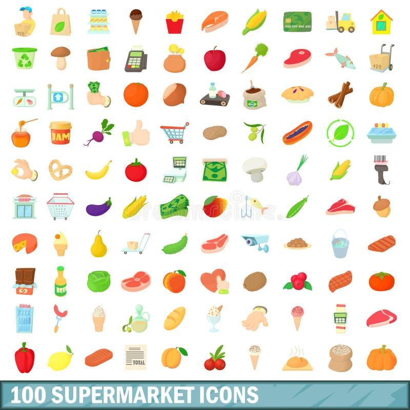 100 iconos fijados, estilo del supermercado de la historieta ilustración del vector