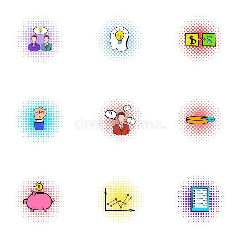 Iconos fijados, estilo del trato de la compañía del estallido-arte stock de ilustración
