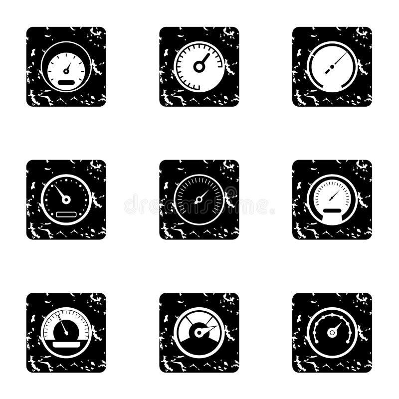 Iconos fijados, estilo del velocímetro del motor del grunge libre illustration