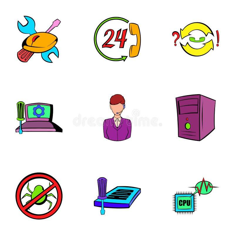 Iconos fijados, estilo del Webmaster de la historieta ilustración del vector