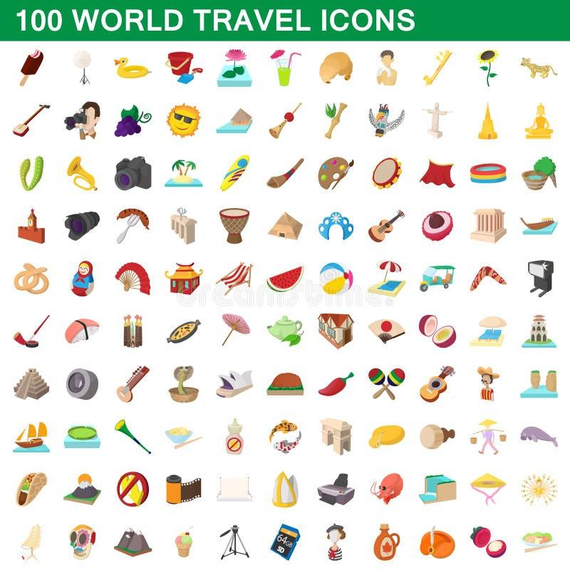100 iconos fijados, estilo del World Travel de la historieta ilustración del vector