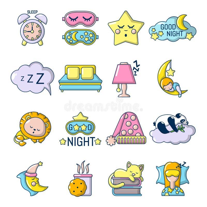 Iconos fijados, estilo el dormir de la historieta ilustración del vector