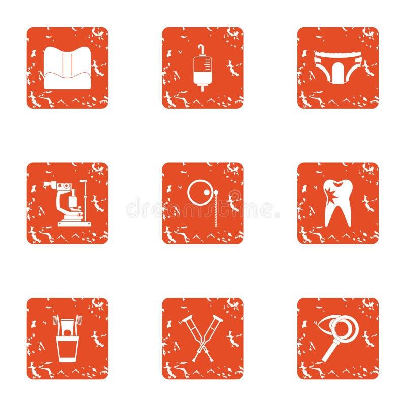 Iconos fijados, estilo el hospitalizado del grunge libre illustration