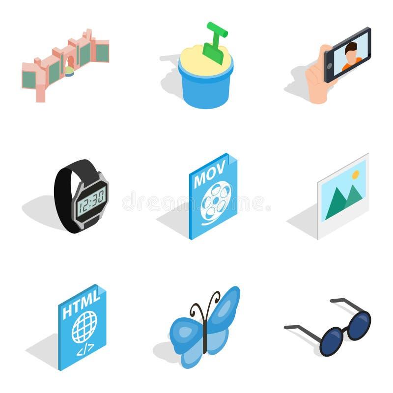 Iconos fijados, estilo isométrico de la arquitectura del web ilustración del vector