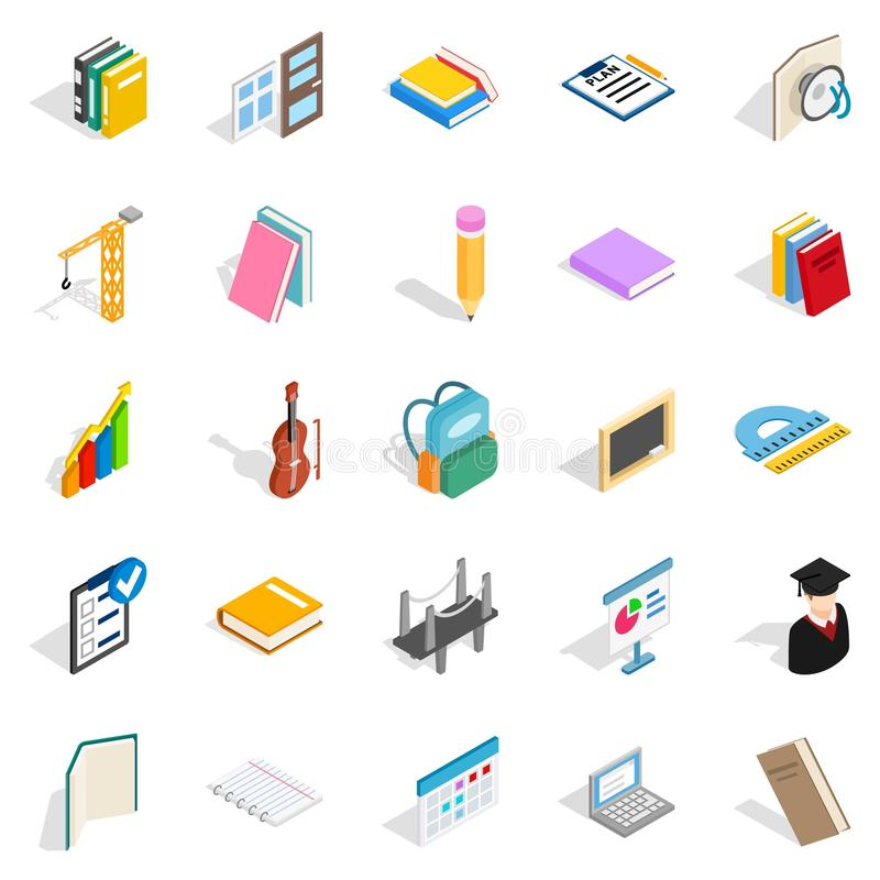 Iconos fijados, estilo isométrico de la cognición ilustración del vector