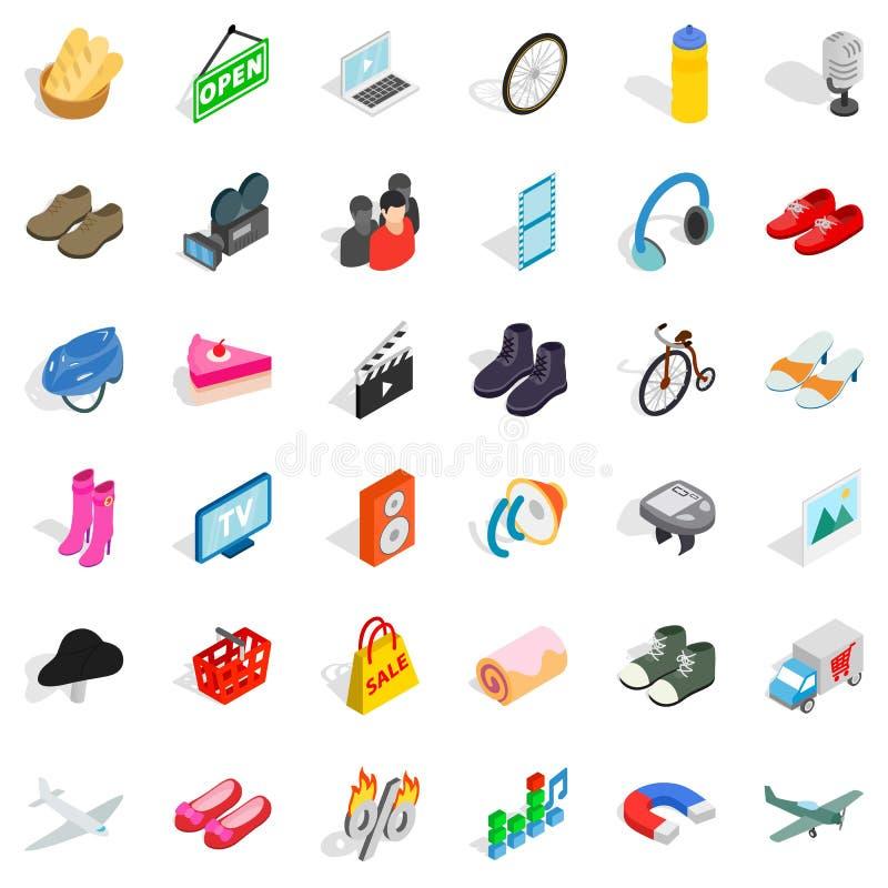Iconos fijados, estilo isométrico de la tienda de E ilustración del vector