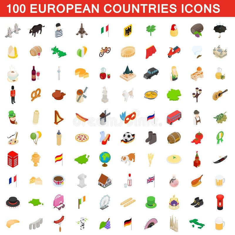 100 iconos fijados, estilo isométrico de los países europeos ilustración del vector